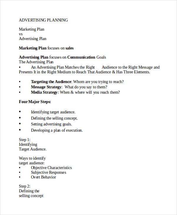 Advertising Plan Template 9 Free Word Excel Pdf