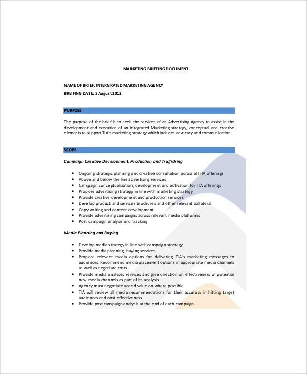 7 Marketing Brief Templates Free Sample Example Format