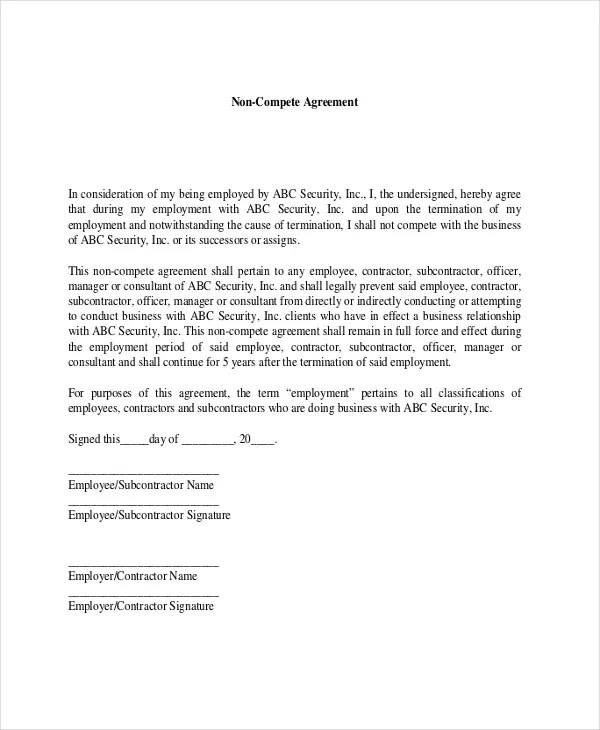 9 Contractor Non Compete Agreement Templates Free Sample