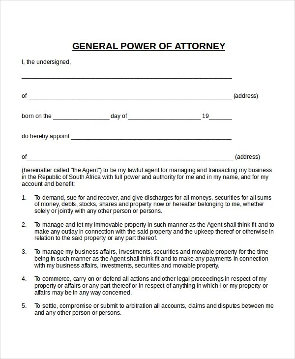 Special Power Of Attorney Template South Africa  MytemplateCo