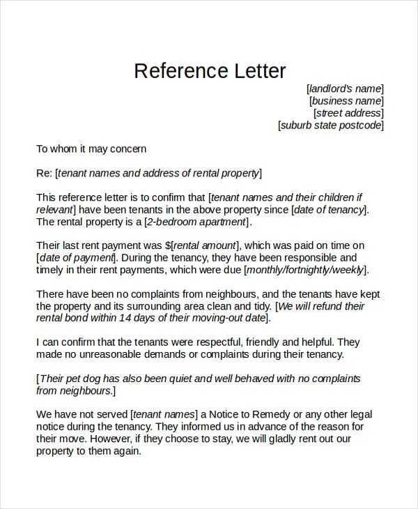 reference letters for tenants