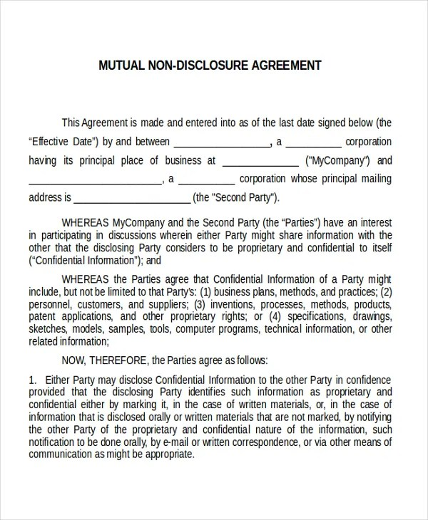 Non disclosure agreement template nda all form templates for Mutual will template