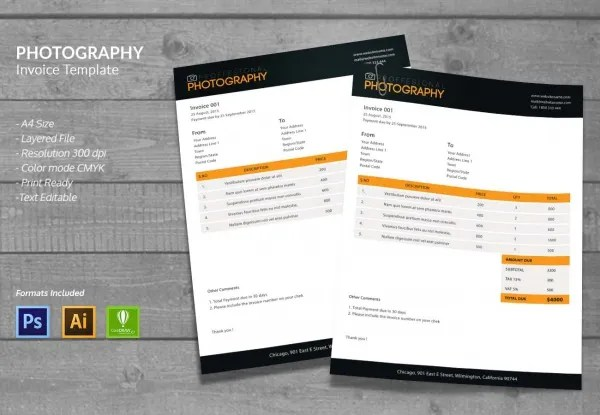 15  Photography Templates   PSD  EPS  AI  CDR Format Download   Free     Photography Invoice Design