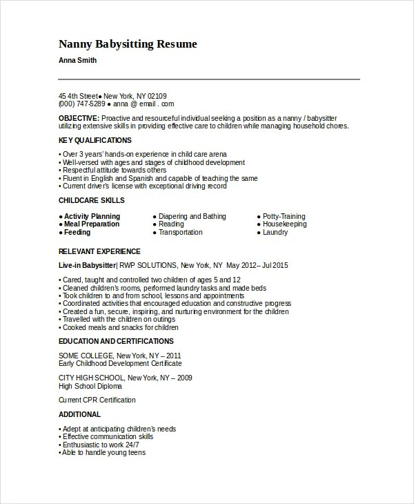Nanny Resume Templates Free - Resume Sample