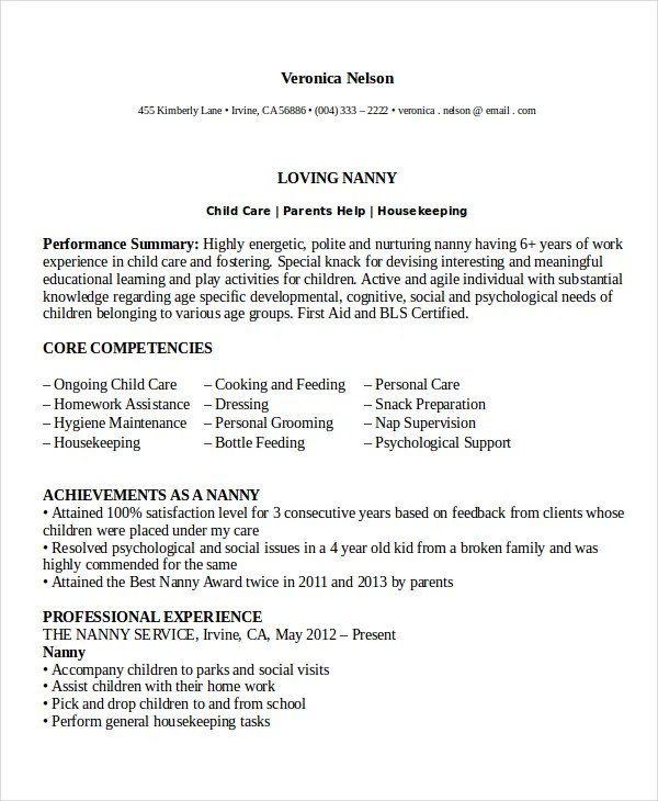 Nanny Resume Example. Babysitter Sample. How Entry Level Sales