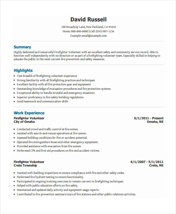 firefighter resume template 7 free word pdf document download