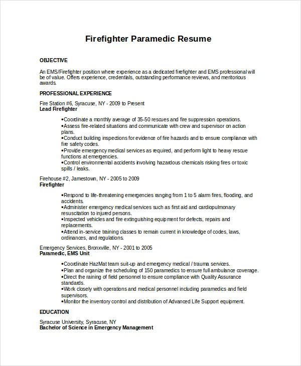 Resume Templates Exampl Firefighter Live Career