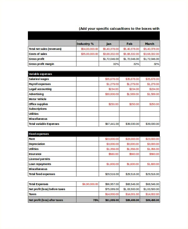Income Statement Template 11 Free Word Excel PDF Document Downloads Free Premium Templates