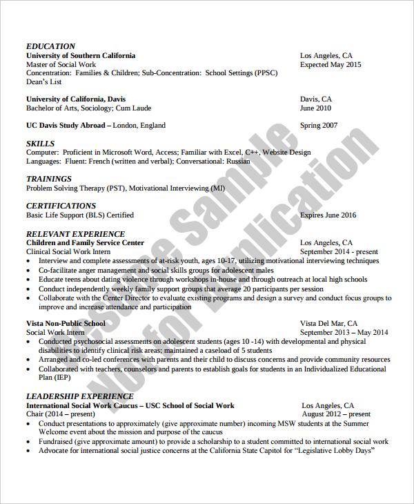 Social Worker Resume social worker resume in sample social – Resumes for Social Workers