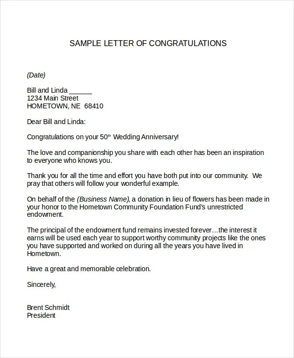 Letter Example Congratulation