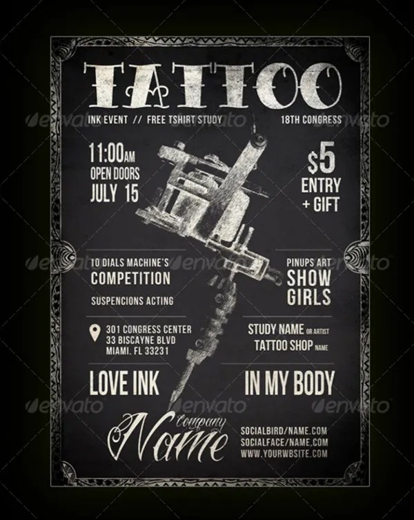 12 Tattoo Flyers Free PSD AI Vector EPS Format
