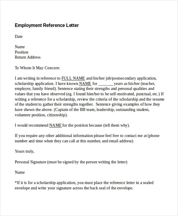 examples of reference letters for employment – Recommendation Letter in Doc