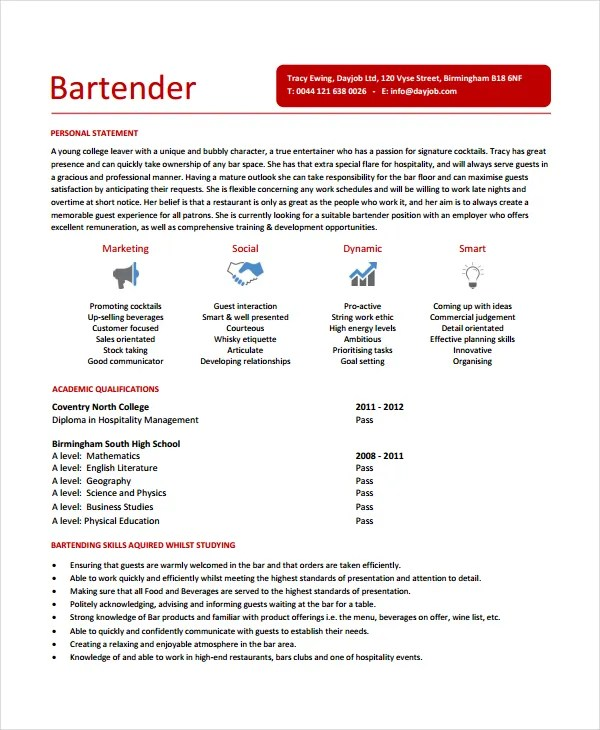 Good Bartending Resume Example. Resume Examples Bar Resume