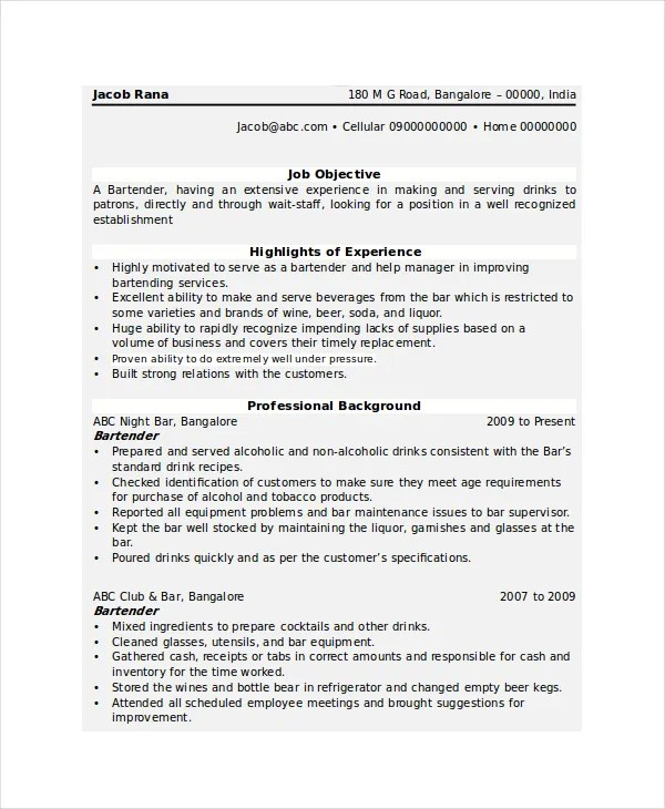 Bartender Resume Summary. Resume Examples Free Resume Example