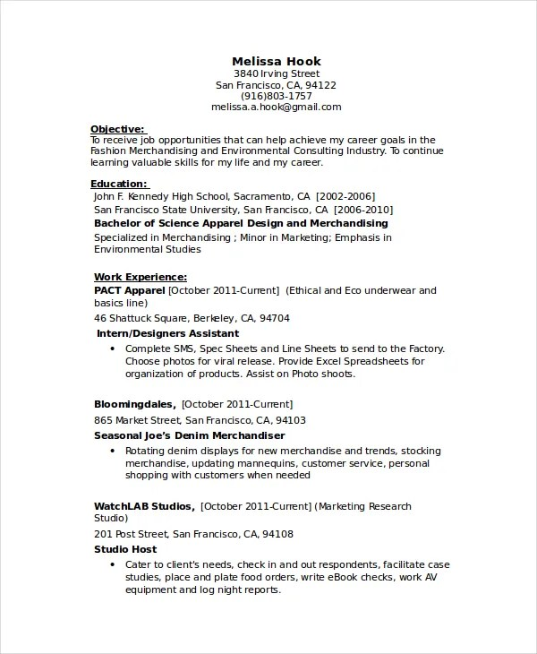 Seamstress Resume Template Sample