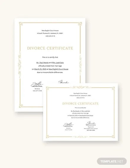 Divorce Certificate Template 8 Free Word Pdf Document
