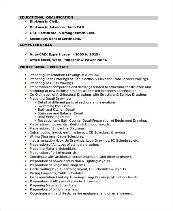 draftsman resume templates free word pdf document downloads