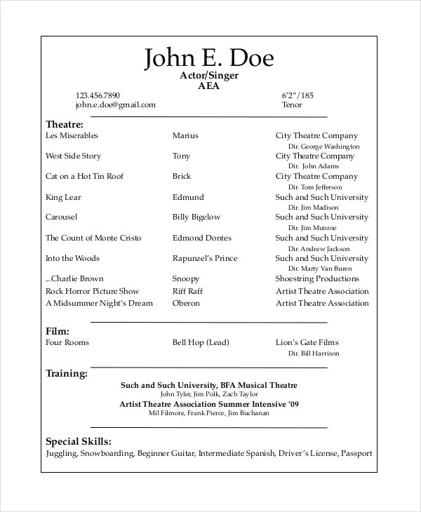 sample resume technical theatre resume template theatre resume