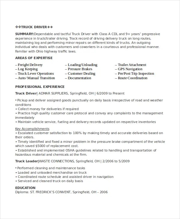 Driver Resume Template 12 Free Word Pdf Document