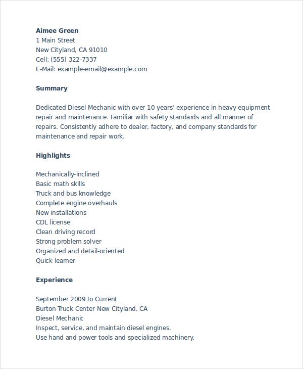 Mechanic Resume Templates - Resume Sample