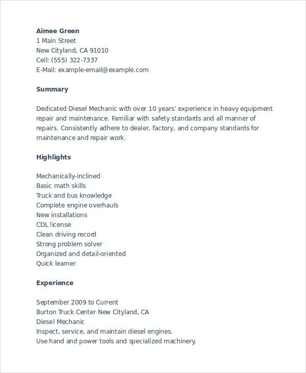 Mechanic Resume Template 6 Free Word Pdf Doent S  Mechanic Resume