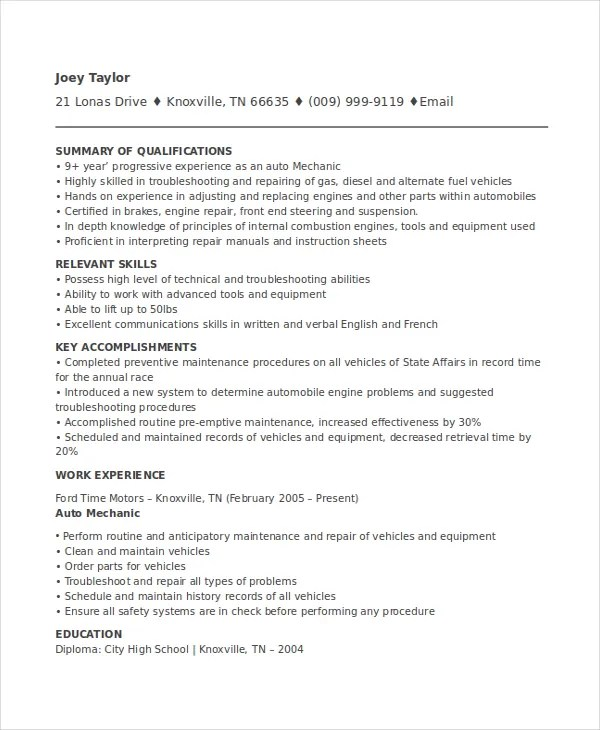 Mechanic Resume Templates Resume Sample . Auto ...