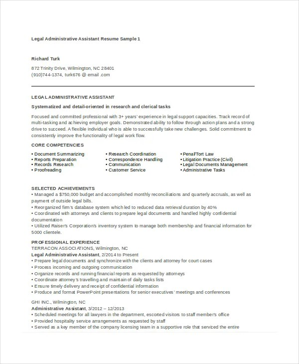 Law Administrative Assistant Resume  chronological resume