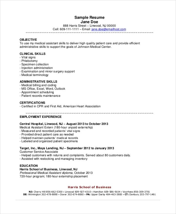 Medical Assistant Sample Resume Objective. Physician Assistant