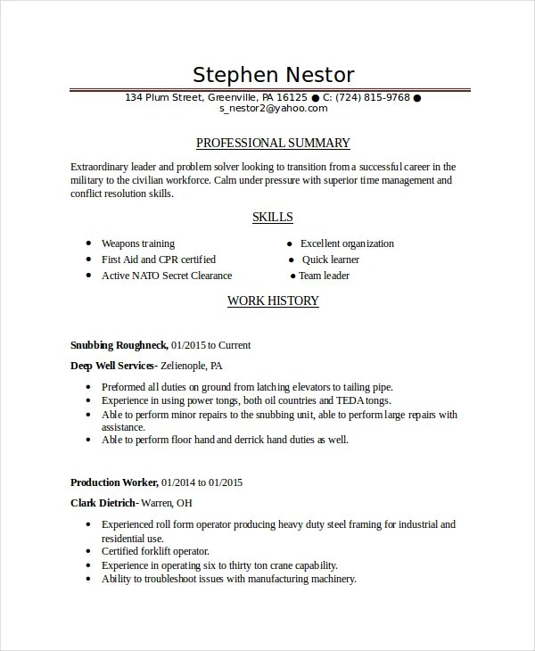 Resume Builder Easy Maker See Infantry Us Marine Corps