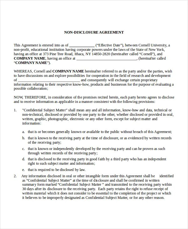 Non Disclosure Agreement Template 16 Free Word Pdf