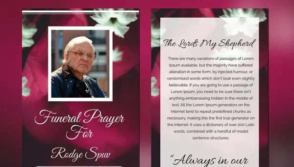 5 Funeral Prayer Cards Word Psd Format Download Free