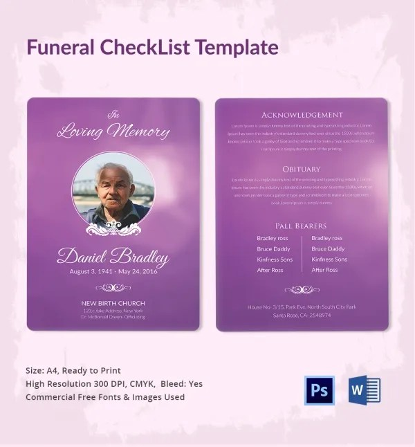 Funeral Checklist Template 5 Word PSD Format Download Free Amp Premium Templates