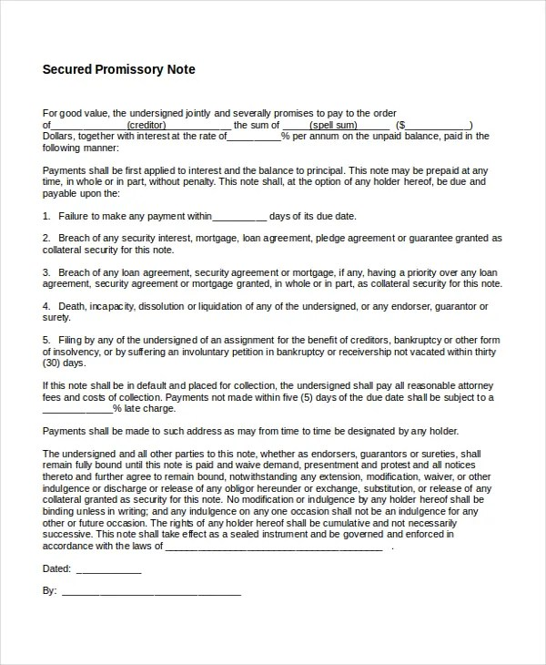 Unsecured Promissory Note Template simple promissory note – Promissory Note Free Download