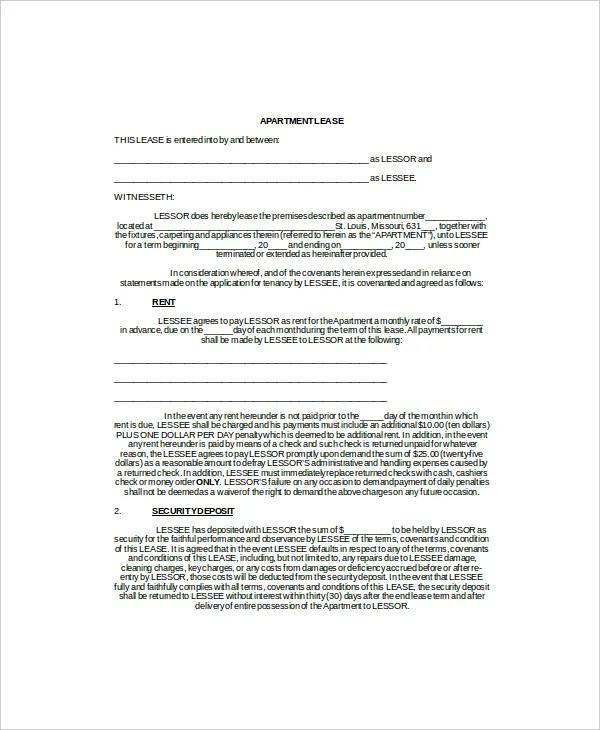 Sample Apartment Lease Agreement Template