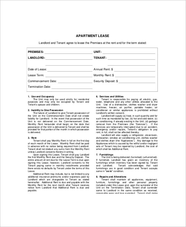 Example Of An Apartment Lease Template