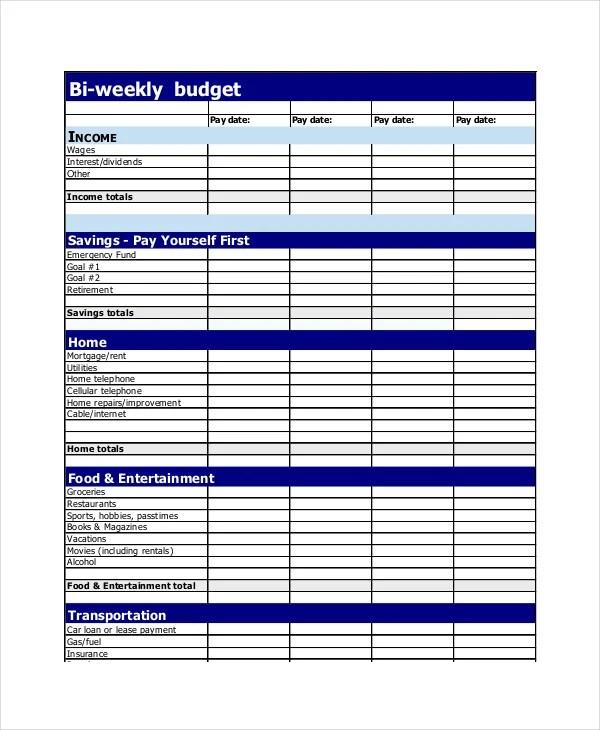 Personal Bi Weekly Budget