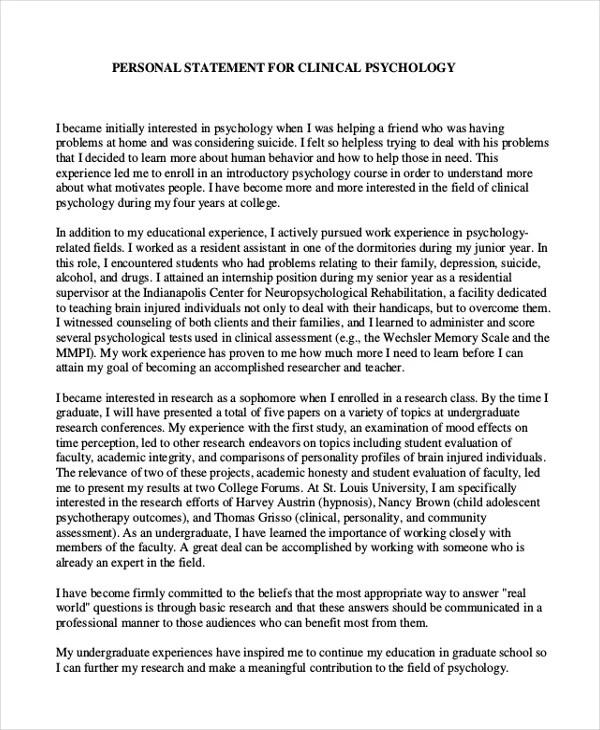 Psychology phd application essay
