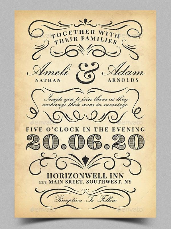 Vintage Invitation Templates Wedding
