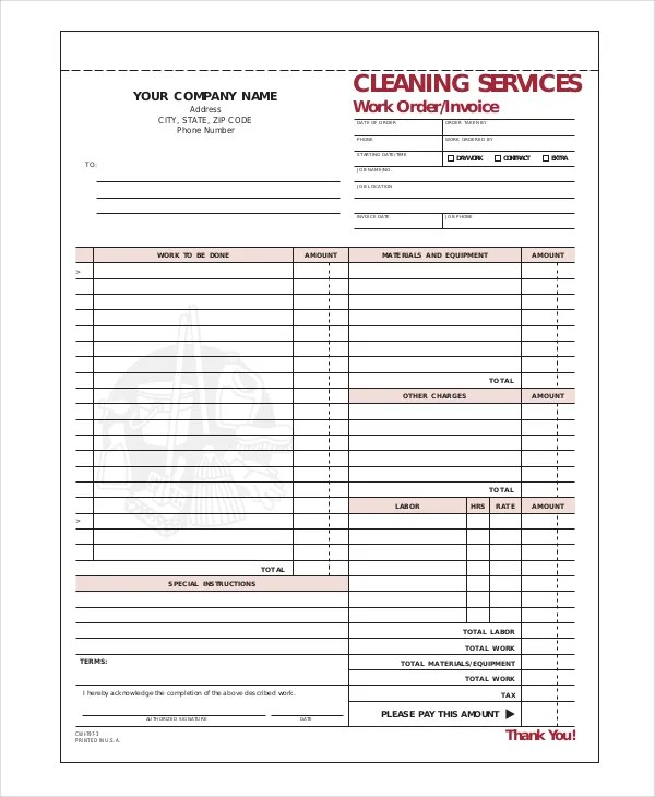 Cleaning Invoice Template 9 Free Word Pdf Documents