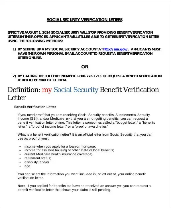 Benefit Verification Letter | Mytemplate.Co