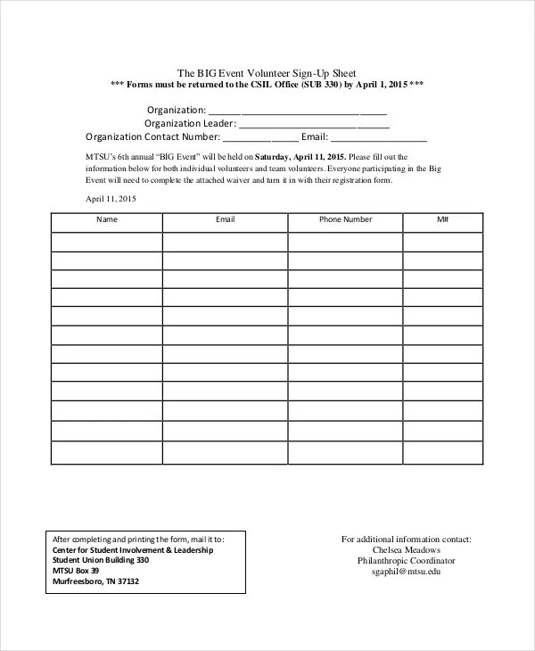Event Sign In Sheet Template - FREE DOWNLOAD