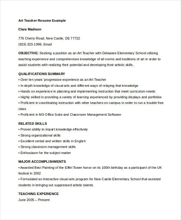 Sample Resume Art Teacher. Art Resume Help Essay Custom Uk Art