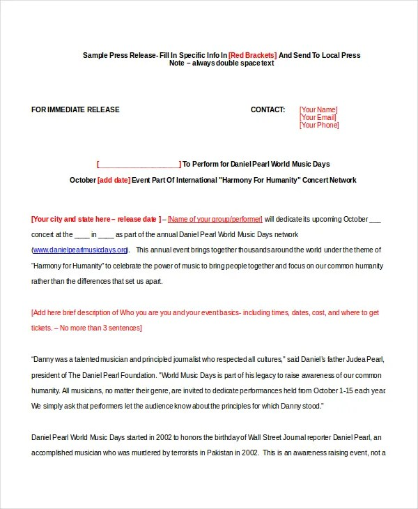 23 Press Release Template Free Sample Example Format
