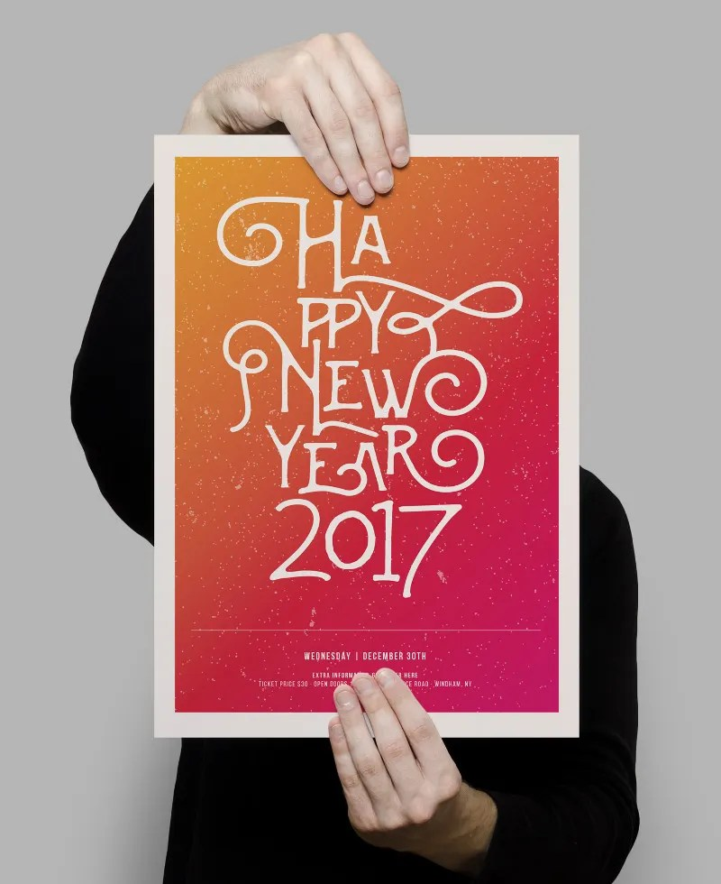 17  2017 New Year Posters   Free   Premium Templates Happy New Year 2017 Poster with Calligraphy Text