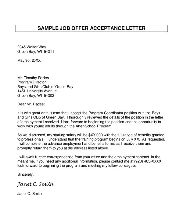 Job Offer Letter 9 Free Sample