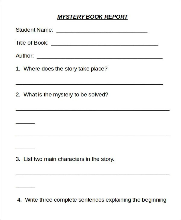 Mystery book report sheet