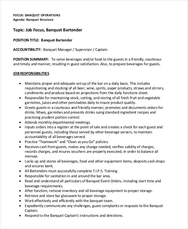 Resume For Bartender Example. Resume Examples Objective For