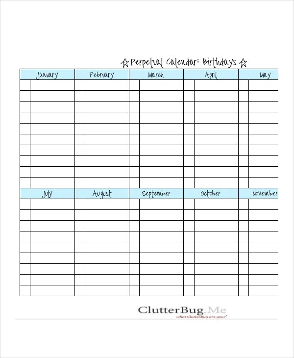 image relating to Printable Perpetual Calendars known as Perpetual Birthday Calendar Template. 6 absolutely free printable