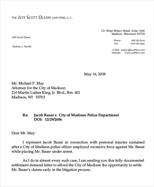 Injury Settlement Demand Letter Sample  Docoments Ojazlink