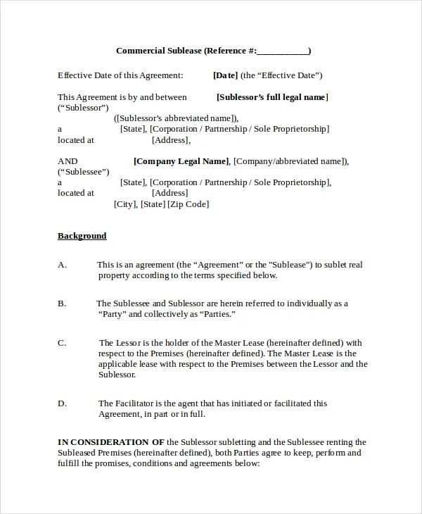 13 Sublease Agreements Word PDF Pages Free Amp Premium Templates